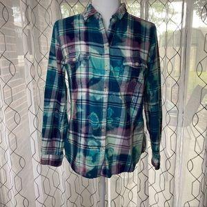 Old Navy Plaid Bleach Dyed Button Down Shirt M